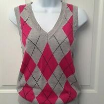 Express Ladies Sz M gray&pink Sweater Vest. Photo