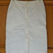 Express Lady's Size 1/2 Below Knee Length Off White Corduroy Skirt Photo
