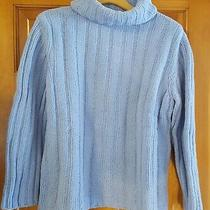Express Large Periwinkle Blue Chunky Wide Rib Knit Turtleneck Cowl Neck Sweater Photo