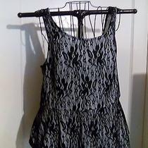 Express Large Tank Top White With Overlay of Black Lace New /tags Photo