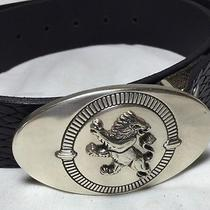 Express Leather Belt Lion Buckle Made in England Black Braided Photo