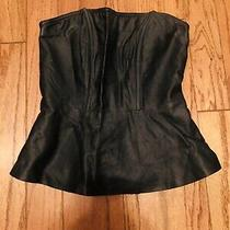 Express Leather Feel Peplum Top - Small Photo