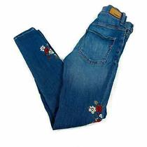 Express Legging High Rise Embroidered Flowers Skinny Jeans Size 0r Photo