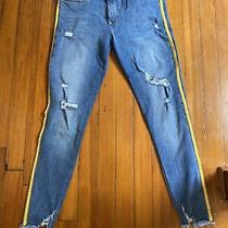 Express Leggings Blue Strecth Size 8 Worn Once Yellow Stripe Jeans Photo