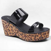 Express Leopard Print Wedge Platform Slide Sandal Size 6 New With Tags Photo