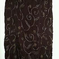 Express Long Brown With Beadwork Sarong  Skirt Size Large  Photo