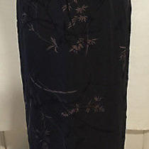 Express Long Full Length Black Floral Casual Career Church Skirt Size 1 / 2 Photo
