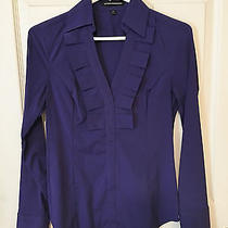 Express Long-Sleeve Purple Top With Ruffle Front Size Xs Photo