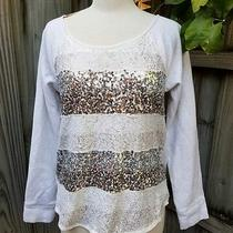 Express Love Sweatshirt Studded Sparkly White Lace Large Scoop Neck Long Sleeve Photo