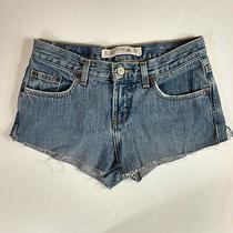 Express Low Rise Short Short Denim Blue Jean Shorts Cutoffs Size 1/2  Photo