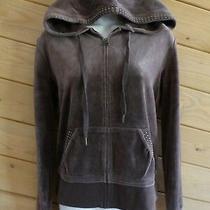 Express M Brown Velour Full Zip Hoodie Long Sleeve Sweats Studs Sweatshirt  Photo