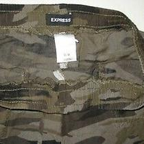 Express - M -  Camouflage Linen & Rayon Elastic Waist Cutoff Shorts Photo