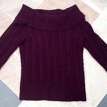 Express M Cashmere Merino Wool Angora Cowl Cable Knit Sweater Eggplant Purple   Photo