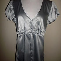 Expressm/lsterling Silver Silky Poly Spandex Empire Waist Baby Doll Tunic Top Photo