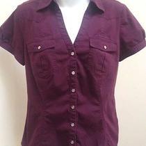 Express M Top Purple Button Down Cotton Stretch Puff Short Sleeve Photo
