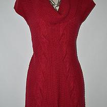 Express Maroon Crochet Knit Cowl Neck Stretch Cozy Sweater Dress Sz Xs Photo