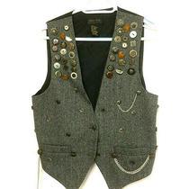 Express Men One Size Vest Punk Rock Chain Grunge Music Pins Button Wool Unisex Photo