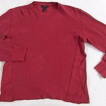 Express Men's 100% Cotton L/s Crew Neck Solid Brick Red Thermal Sweater - Medium Photo