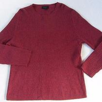 Express Men's 100% Lambs Wool Ribbed L/s Crew Neck Burgundy Red Sweater - Xl Photo