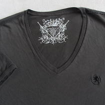 Express Men's 100% Soft Cotton Short Sleeve v-Neck Dark Gray T Shirt - Large Photo