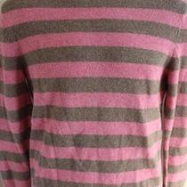 Express Men's Brown Pink Striped Crew 100% Wool Sweater Sz Small Photo