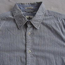 Express Men's Casual Fit L/s Button Down White Striped Dress Shirt - S (14-14.5) Photo