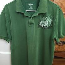 Express Men's Distressed Green Classic Polo Tee Shirt Size Large Photo