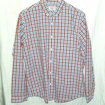 Express Men's Dress Shirt Red Blue Check Fitted Left Chest Pocket Large Photo