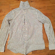 Express Men's Dress Shirt Xs Extra Small 13 - 13 1/2 White Modern Fit Striped Photo