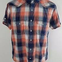 Express Men's Fitted Plaid Dress Shirt Size Mediumbluewhite & Orange Free Ship Photo