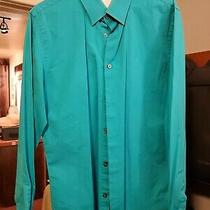 Express Mens Fitted Turquoise Button Up Work Shirt Photo