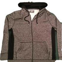 Express Mens Full-Zip Up Gray & Black Fleece Hoodie in Size Medium - New Photo