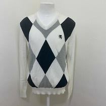 Express Men's Geometric Cotton v-Neck Sweater Size M  Z06-34 Photo