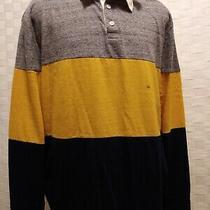 Express Men's Gray Yellow Blue 3 Toned Button-Up Collared Polo Shirt Size Medium Photo