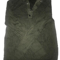 Express Men's Green Ribbed Cotton Zip & Button Sweater Size Large Photo