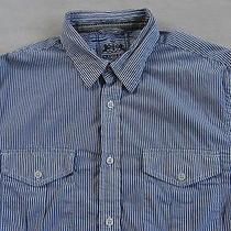 Express Men's L/s Button Down Blue & White Striped Dress Shirt - Medium Photo