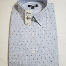 Express Men's Light Blue Dotted Dress Shirt Size S. Slim Fit Mspr 69.90 Photo