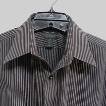 Express Men's Long Sleeve Black Striped Dress Cotton Shirt Size M - Vguc Photo