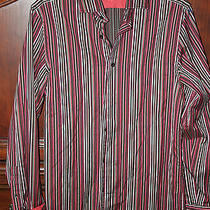 Express Men's Long Sleeve Coral Brown Stripe Shirt Size 14 1/2 Small Modern Fit Photo