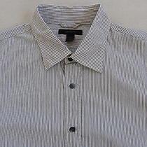 Express Men's Modern Fit L/s Button Down White & Black Striped Dress Shirt - L Photo