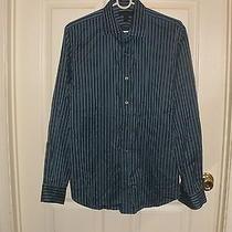 Express Men's Modern Fit L/s Button Down White Striped Dress Shirt - M (15-15.5) Photo
