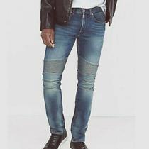Express Men's Moto Jeans Blue Stretch Denim Sz 30 Photo