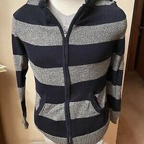 Express Men's Navy Gray Sweater Hoodie Size S Stripe Modern Full Zip Casual Photo