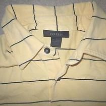 Express Men's Polo Shirt Yellow Navy Blue Small Used Cotton Spandex  Photo