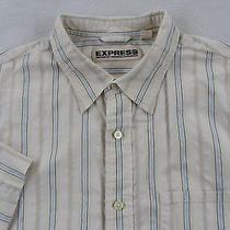 Express Men's Precision Fit S/s Button Up Off White Striped Dress Shirt - Xl Photo