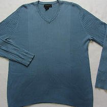 Express Men's Rayon & Cotton Blend L/s v-Neck Sweater - Solid Light Blue - Large Photo