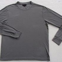Express Men's Rayon & Polyester L/s Crew Neck Solid Gray T Shirt - M - Usa Made Photo