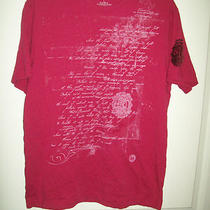 Express Mens Red Printed Graphic 100% Cotton Quality Casual Fitted T-Shirt L Photo