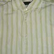 Express Men's S Long Sleeve Lime Green & White Striped Button Front Shirt Pocket Photo