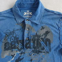 Express Men's Short Sleeve Blue Graphic Polo Shirt - Small Photo